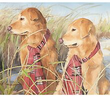 Retrievers at the beach watercolor by Mike Theuer