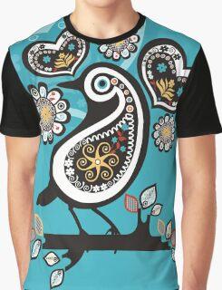 Scandinavian meets paisley bird hearts flowers Graphic T-Shirt