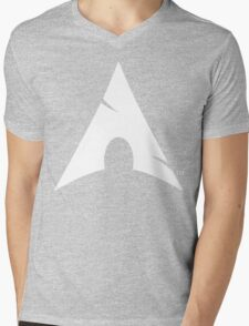 Big-A Arch Linux White Mens V-Neck T-Shirt