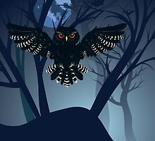Owl in the Night Forest 4 by AnnArtshock