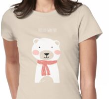 Hello winter- Mr. Bear Womens Fitted T-Shirt