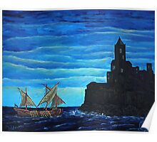 Oil Painting - The Legend of the Ship with the Golden Oars Poster