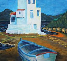Oil Painting - Harbor of Santa Flavia, Sicily 2011 by Igor Pozdnyakov