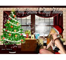 Santas Helper: Merry Christmas & Happy Holidays Photographic Print