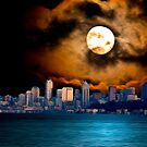 Moon over Seattle by Dale Stillman