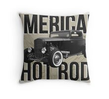 American Hot Rod - brown version Throw Pillow