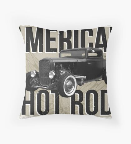 American Hot Rod - brown version Throw Pillow