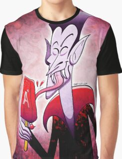 Dracula Licking a Blood Flavored Popsicle Graphic T-Shirt