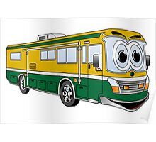 Green and Gold Cartoon Camper Bus Poster