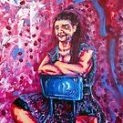 Pink Lady with a Glass of Wine by Josh De Pasquale