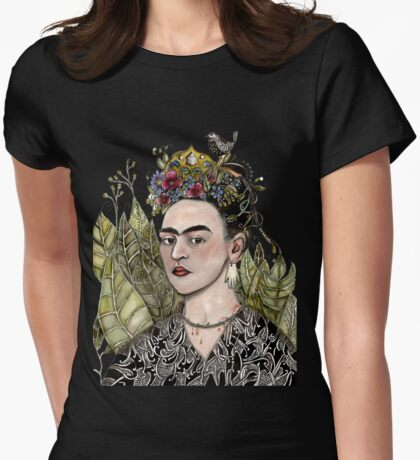Frida Kahlo Self Portrait #2 (my version) Womens Fitted T-Shirt