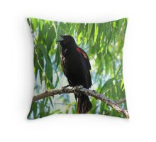 Red-winged Blackbird ~ Male Singing Throw Pillow