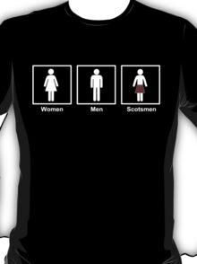 Women, Men, Scotsmen Funny Toilet Humor Design T-Shirt