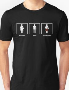 Women, Men, Scotsmen Funny Toilet Humor Design T-Shirt