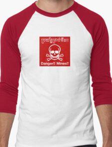 Danger Mines Sign, Cambodia Men's Baseball ¾ T-Shirt