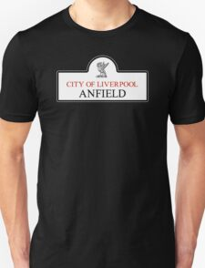 Anfield District, Liverpool Road Sign, UK Unisex T-Shirt