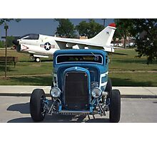 1932 Model A Ford Coupe Hot Rod and A-7 Corsair Fighter  Photographic Print
