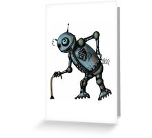 Funny Old Robot cartoon drawing art Greeting Card