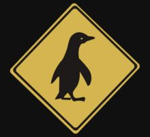 Attention Penguins, Traffic Sign, New Zealand One Piece - Short Sleeve