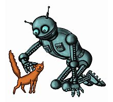 Funny Robot with Cat cartoon drawing art Photographic Print