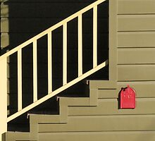 Red Mailbox and Steps by Jane Underwood