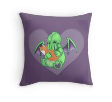 Cthulhu and Kitten The Two Evils  Throw Pillow