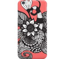 Black & White Tangle Drawing Flowers and Swirls iPhone Case/Skin