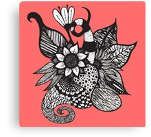 Black & White Tangle Drawing Flowers and Swirls Canvas Print