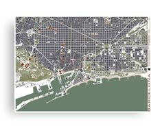 Barcelona city map engraving Canvas Print