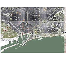 Barcelona city map engraving Photographic Print