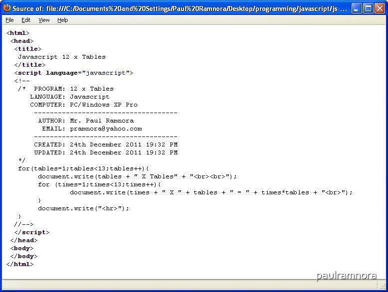 241211a - Javascript 12 x Tables program  by paulramnora