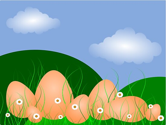 Easter Egg Landscape, blue sky and clouds by jahina
