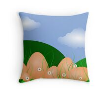 Easter Egg Landscape, blue sky and clouds Throw Pillow