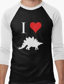 I Love Dinosaurs - Stegosaurus (white design) Men's Baseball ¾ T-Shirt