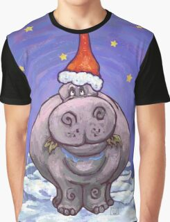 Hippopotamus Christmas Graphic T-Shirt