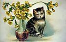 Kitten with Flowers by Susan S. Kline