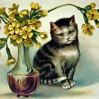 Kitten with Flowers by Susan S. Kline
