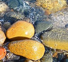 Yellow Rocks on Shoreline by marybedy