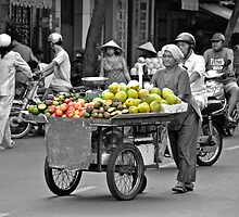 Fruit cart in Ho Chi Minh City by Carl LaCasse