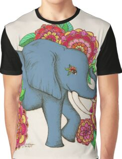 Little Blue Elephant in her secret garden Graphic T-Shirt