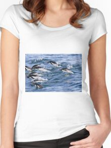 Gentoo penguins (Pygoscelis papua). swimming in the ocean Women's Fitted Scoop T-Shirt
