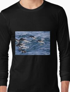 Gentoo penguins (Pygoscelis papua). swimming in the ocean Long Sleeve T-Shirt