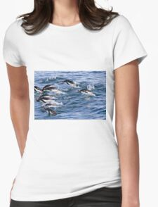 Gentoo penguins (Pygoscelis papua). swimming in the ocean Womens Fitted T-Shirt
