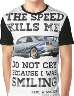Paul Walker Tribute GTR - Halftone Graphic T-Shirt
