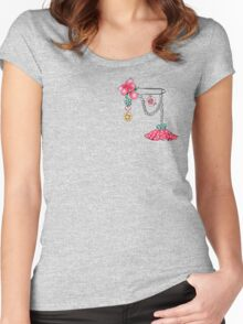 Girly Brooch Accessory Women's Fitted Scoop T-Shirt