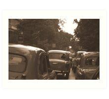Antique Taxi's, Calcutta, India Art Print