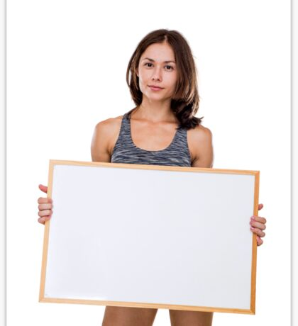 female bodybuilder holds a blank whiteboard ready for your own message Model release available  Sticker