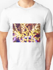 Abstract defocused colour lights in a dark black night Unisex T-Shirt