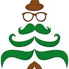 Mr Merry Christmas Mustache Tree #02 by Silvia Neto
