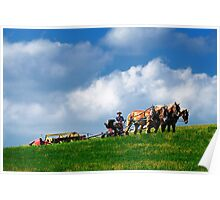 Amish farmer plowing Poster